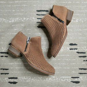 Vince Camuto Tan Suede Booties 7 Perforated Zip